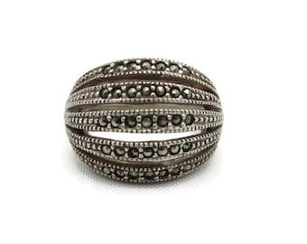 Sterling Silver Marcasite Ring - Retro, Multi Band