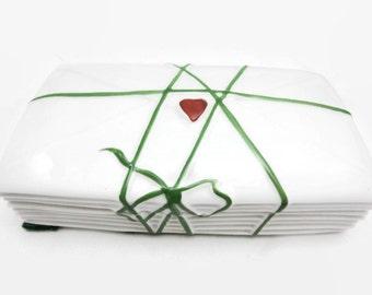 Rochard Limoges Trinket Box - Peint Main, Betty St John, Stack of Love Letter Envelopes, Porcelain Jewelry Box, French Limoges