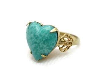 Green Heart Ring - Peking Glass, Adjustable, Filigree, Costume Jewelry