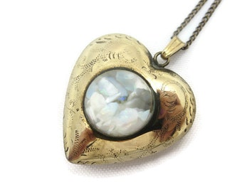 Opal Heart Pendant - 12k Gold Fill, Puffy Heart Charm, Etched, Bubble, October Birthstone