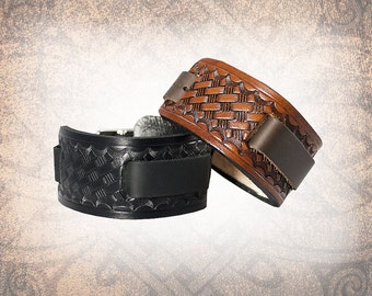 Basketweave - Leather Watch Cuff, Leather Watch Strap, Leather Watch Band, Brown Watch Cuff, Men's Watch Cuff (1 Watch Cuff Only)