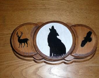 Wolf wood box - Three Moon Music Box