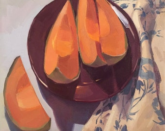 "Art painting fruit still life ""Cozy Cantaloupe"" original oil by Sarah Sedwick 12x12"""