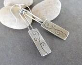 Sale-Rustic Boho Dangle OOAK Sterling Silver-Swirl Artisan Earrings.