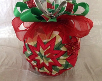 Red and Green Christmas Plaid Unique Handmade Keepsake Quilted Star Christmas Ornament