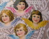 5 Large Vintage PZB Germany Paper Scraps Lithographed Die Cut Pastel Angels 1940s  31890
