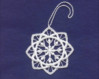 Germany Woven Cotton Thread Christmas Snowflake Ornament For Crafting White  LHS019