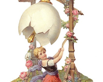 Victorian Easter Scrap Made In Germany Large Lithograph Die Cut   5178