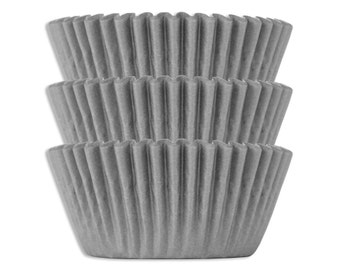Solid Gray Shimmer Baking Cups - 50 solid grey paper cupcake liners