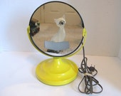 Vintage Mid Century Retro Bright Yellow Lighted Round Make Up Vanity Mirror