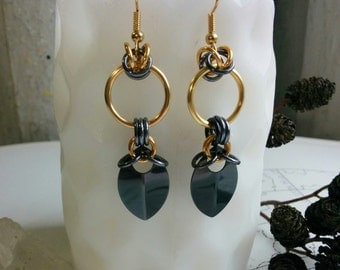 Gunmetal and gold mini nouveau chainmaille earrings