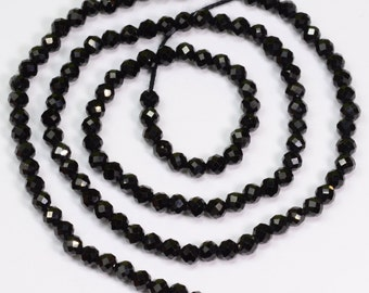 2.88mm Black Spinel Precision Cut Faceted Rondelle Beads 13 inch Strand