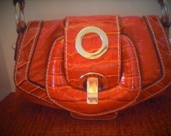 Guess Brand Red Patent Reptile patterned Mini Purse
