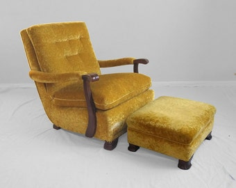 antique chartreuse yellow mohair claw foot arm chair & ottoman