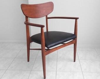20% SALE danish modern sculptured walnut lounge chair