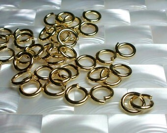 10mm 13g Heavy Duty OPEN High Polish Shiny Gold plated Steel Jump Rings 10pcs Heavy Duty Jewelry Jewellery  Craft Supplies