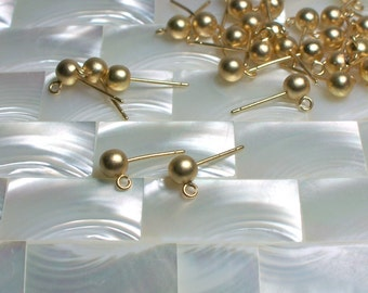 2pr 20ga Post Earring with 5mm Ball and 2mm Loop with Clutch Back Findings Matte Gold Plated Brass Jewelry Jewellery Craft Supplies