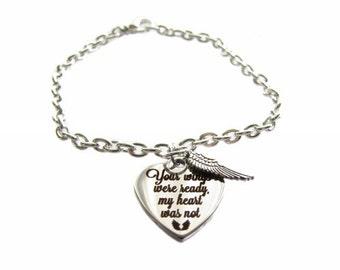 "Stainless Steel ""Your Wings Were Ready, My Heart Was Not"" Heart Charm, Angel Wing, Silver Plated Steel Bracelet"