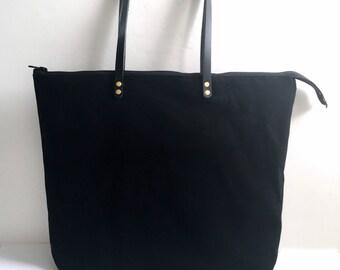 Black Bag, Waxed Canvas Tote Bag, Zippered Tote Bag, Zippered Purse
