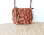 date purse  • geometric crossbody bag • red geometric print - terra cotta canvas - tone on tone - screenprinted - gifts under 50 • vukani