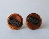 50s Copper Earrings / Mid Century Modern Button Earrings / Modernist Fish Earrings