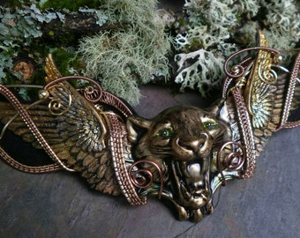 Gothic Steampunk Cat Goddess Necklace with Wings