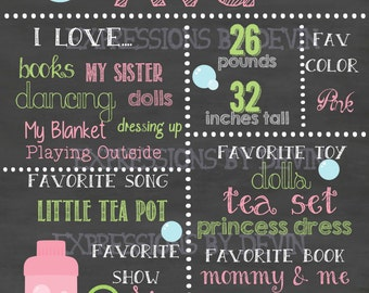 Bubble theme custom ( Any age ) Birthday Chalkboard sign printable file ( Choose size 8x10, 11x14 or a 16x20