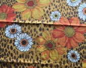 Pair of vintage Standard Pillowcases Animal print Leopard bold florals orange red yellow