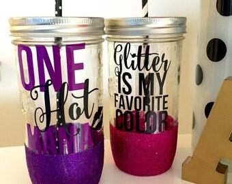 Glitter is My Favorite Color Mason Jar Tumbler // Glitter Tumbler // Glitter Glass