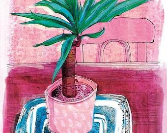 Little Palm Archival Art Print house plant illustration