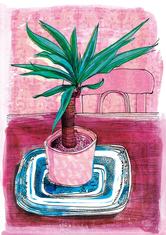 Little Palm Wall Art Print house plant illustration pink and green