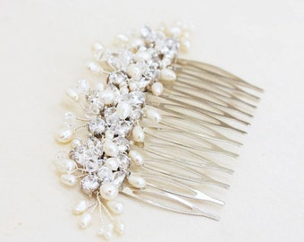 Bridal Rhinestone, Crystal and Freshwater pearl Wedding Hair Comb Fascinator