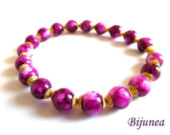 Pink golden bracelet - Fushia pink bracelet - Golden pink bracelet - Pink golden bracelet b155