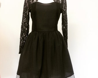 Little Black Lace and Chiffon Mini Dress-XL in Stock-Custom Made to your size-Prom-Party-Clubbing- Girls night out-Bachelorette-Dance