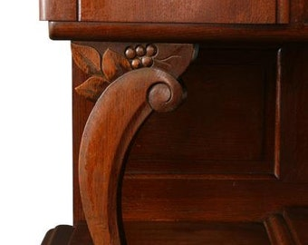 1920 Art Deco Buffet French Carved Oak Grapes Fruit MidCentury Modern  Free Shipping