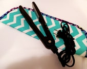 Quilted Flat Iron or Curling Iron Cover  Turquoise and White Chevron