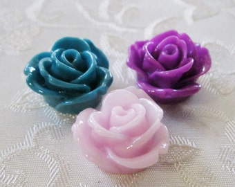 Drilled Resin Rose Flower Beads with Hole Choose your Colors 19mm 949