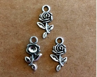6 Rose Charms - Antique Silver - SC253 #MG