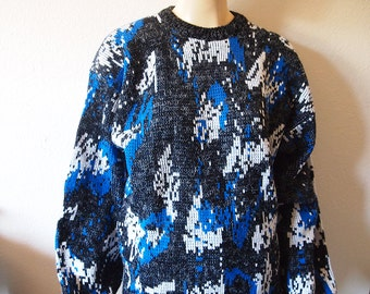 SNOWFIELD // Vintage 80s Cosby Sweater Unisex Small - Medium Colorful Sweater 1980s Crewneck Pullover Abstract Aesthetic Oversized Winter