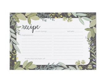Herb Border Illustrated Recipe Cards - Set of 50 // 1canoe2