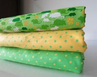 Green Rats Bundle - hand printed cotton fabric - FQ Set