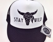 Stay Wild Womens Trucker Hat Snapback Adjustable Black and White Stag Boho Feather Youth