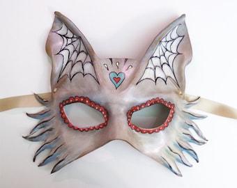 Sugar Skull Animal Fox Wolf Dog Leather Mask  Day of the Dead  Dia de los Muertos spider web