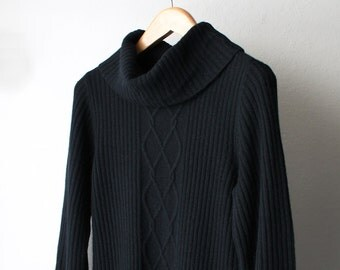 SALE - 1990's Ribbed Maxi Turtle Neck Sweater Dress