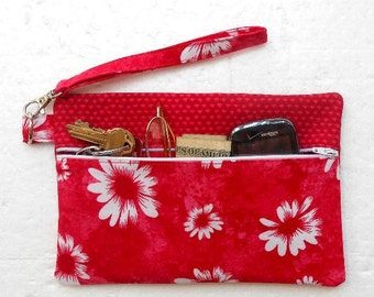 Pink White Wristlet, Hot Pink Floral Womans Wallet, Front Zippered Clutch Purse, Makeup or Phone Bag, Camera or Gadget Holder, Small Purse