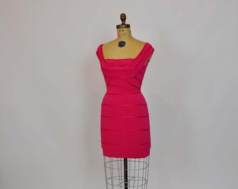 80s dress / Vintage 1980's Pink Tadashi Bandage Dress