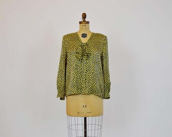 80s blouse /  Vintage 1980's Valentino Polka Dot Bow Silk Blouse
