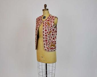 boho vest / Tree of Life Vintage 70's Boho Crewel Vest Birds