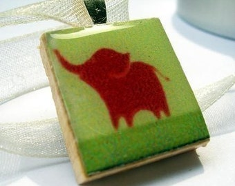 Elephant pendant on recycled Scrabble tile