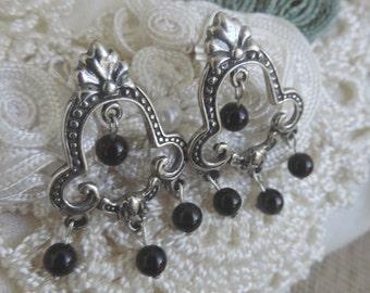 Chandelier Sterling Silver Onyx Post Earrings